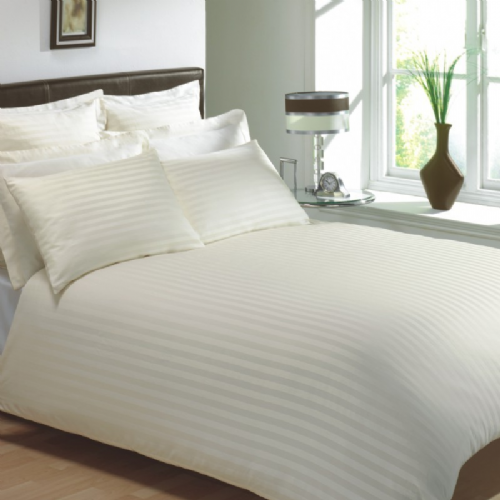 CREAM COLOUR 250 THREAD COUNT COTTON LUXURY HOTEL STRIPE BEDDING & BEDLINEN RANGE